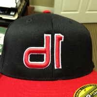 Puff Embroidery Caps Red and Black - D1