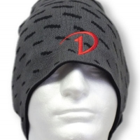 Black and Gray Beanie with Red Embroidery - P1