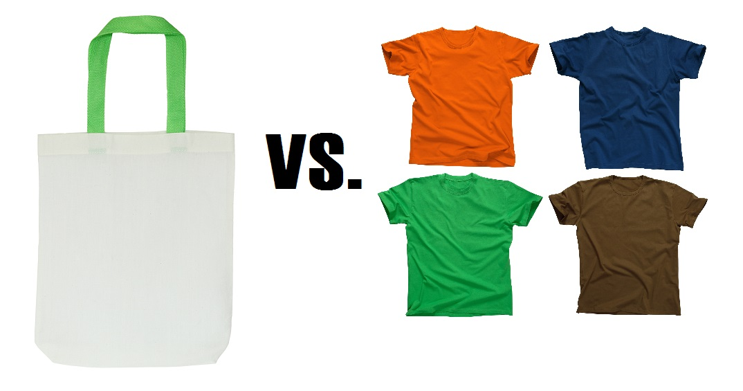 choosing between tote bags and t shirts