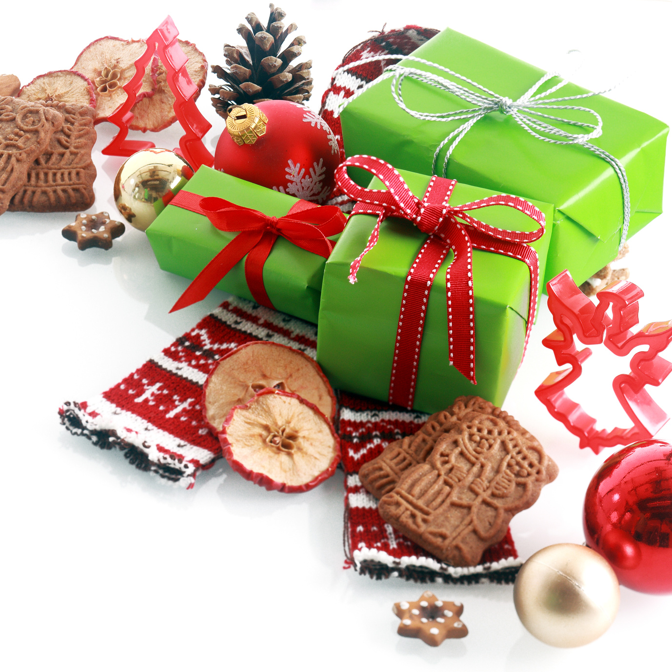 Colorful red and gree themed Christmas still life